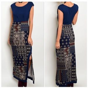 Navy Multicolored Cap Sleeve Maxi Dress