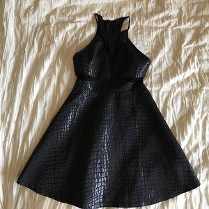 Black crocodile print mesh insert skater dress
