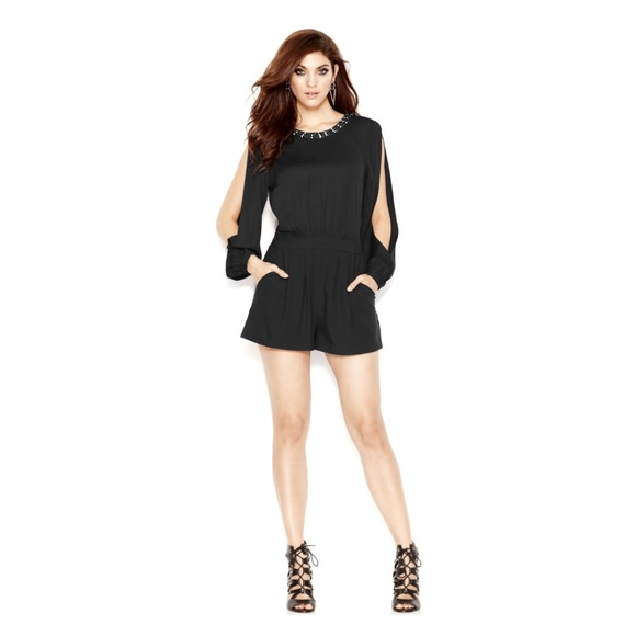 4749bd36b74 Guess Pants - Guess Black Long Sleeve Beaded Open Back Romper