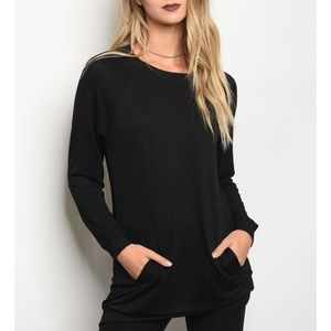 | CHIC POCKET TUNIC SWEATSHIRT |
