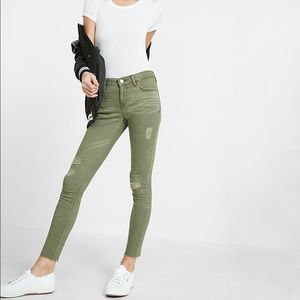 🔥HP🔥Express Army Green Frayed Ankle Legging Jean