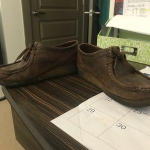 Brown wax Clark's wallabees