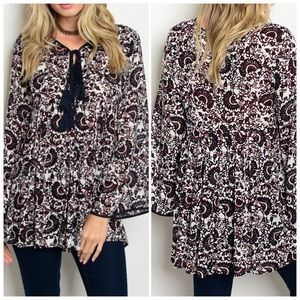 White Navy Burgundy Long Bell Sleeve Top