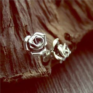 Jewelry - Silver Realistic 3D Rose Stud Earrings