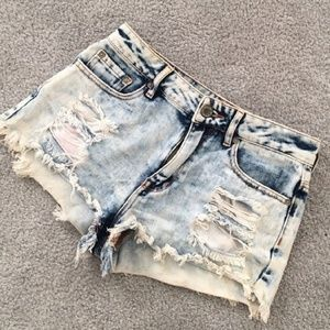 High Waisted Acid Wash Shorts