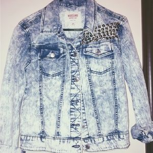 Acid Wash Studded Jean Jacket