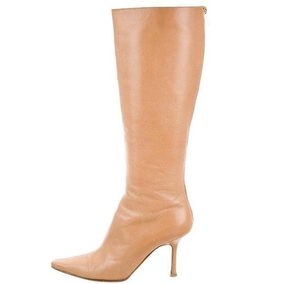 jimmy choo shoes nude leather kneehigh boots poshmark rh poshmark com