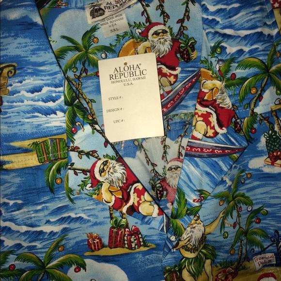 nwt aloha republic christmas hawaiian shirt - Christmas In Hawaiian