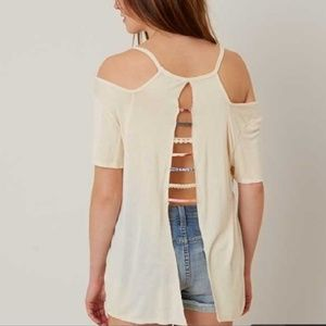 Gimmicks Cream Strap Back Top