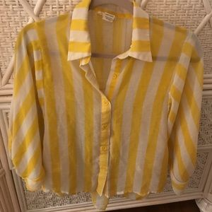 Yellow and white striped blouse