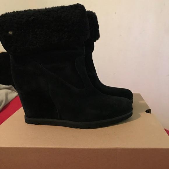 New Black Ugg Wedge heel boot