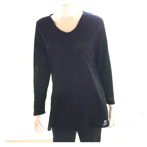 d22763fcca8c6 NEW ALFANI black sequin sparkle tunic top fancy XL