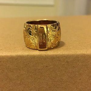 "Coach Miranda Signature ""C"" Ring, Gold, Sz 6"