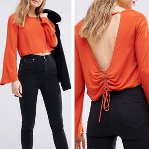 Tops - NWT Corset Back Bell Sleeve Blouse