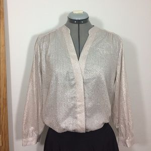 H&M Cream/silver light flowy peasant blouse Sz M