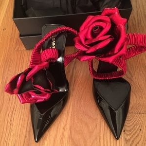 a3817e97ba Saint Laurent Freja 105 Pump with Red Flower NWT