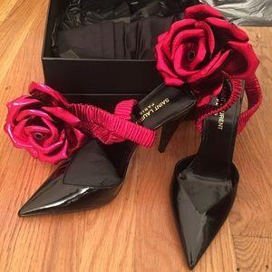 ce02fb3a499 Saint Laurent Shoes - Saint Laurent Freja 105 Pump with Red Flower