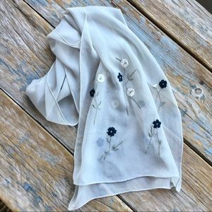 Accessories - Silk Scarf with Floral Embroidery