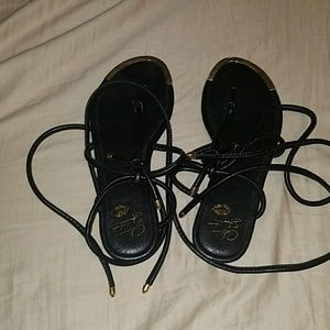 Colin Stuart Black tie up sandals