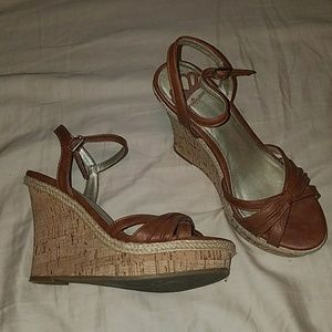 Fergalicious brown and cork wedge sandals