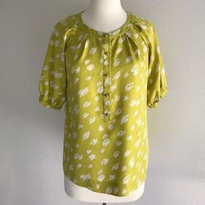 Tops - Chartreuse/White Banded Neck w/ Tab Front Blouse