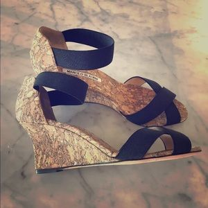 Manolo Blahnik wedge cork and gold shoes