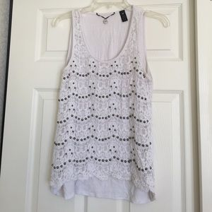 Lace tank with beading