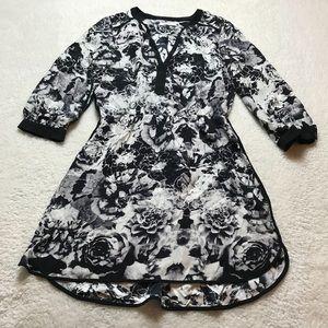 100% silk Parker black and white floral dress