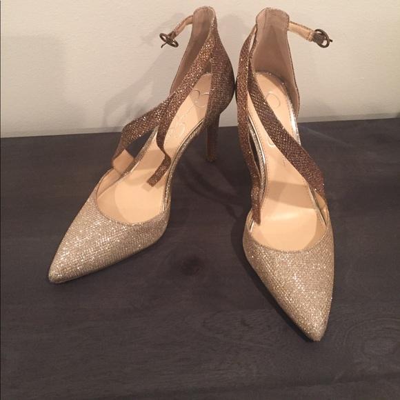 8f433a3975 Jessica Simpson Shoes - Jessica Simpson Metallic Glitter Heels Pumps 8 38