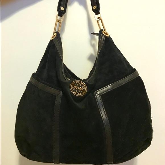 9163eaafcea Tory Burch black suede Hobo bag