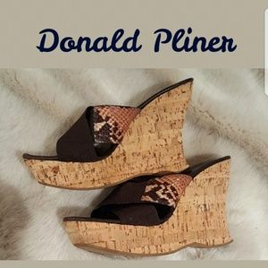 Donald Pliner Rose Python Leather Cork Wedges