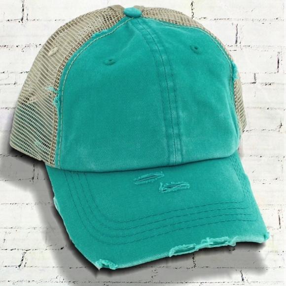 DISTRESSED TURQUOISE MESH PONYTAIL CAP 3e1c4656f607