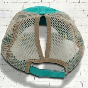 Accessories - DISTRESSED TURQUOISE MESH PONYTAIL CAP e8a0b107293f