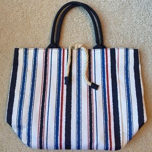 Estée Lauder tote in red, white and blue stripe