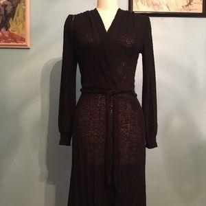 Vintage 1970's Black Knit Fitted Wrap Dress