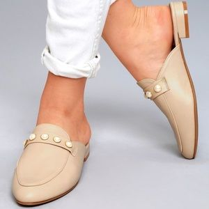 Shoes - Cute Loafer Slide Mules with Pearl Detail