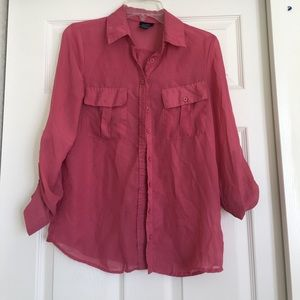Button down sheer shirt