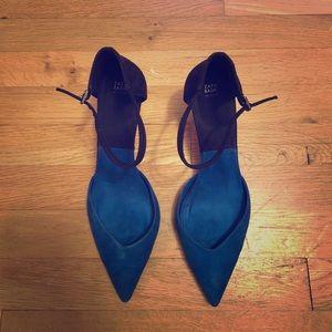 ZARA color block blue suede heels size 41
