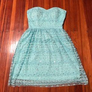 Lulu's lace dress, mint with gold spots