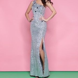 Silver Sequin One-Shoulder Prom Dress
