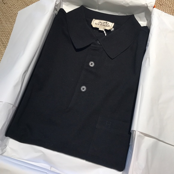 04159fcd Hermes Shirts | Nib Auth Black Polo Soild Mens Polo Top L | Poshmark