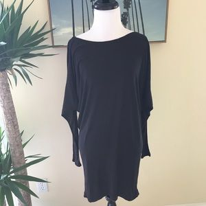 {VINCE.} Long Sleeve Black Boat Neck Tunic Dress