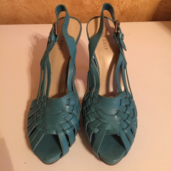 2e4fbc2c2ba6 Nine West Turquoise High Heeled Sandals. M 59f646466a5830fff50758a7. Other  Shoes ...