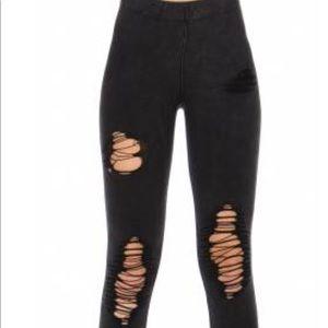 Pants - Cotton blend distressed jean print Black leggings.