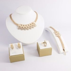 Jewelry - Gold Plated Necklace, Bracelet, ring, and Earrings
