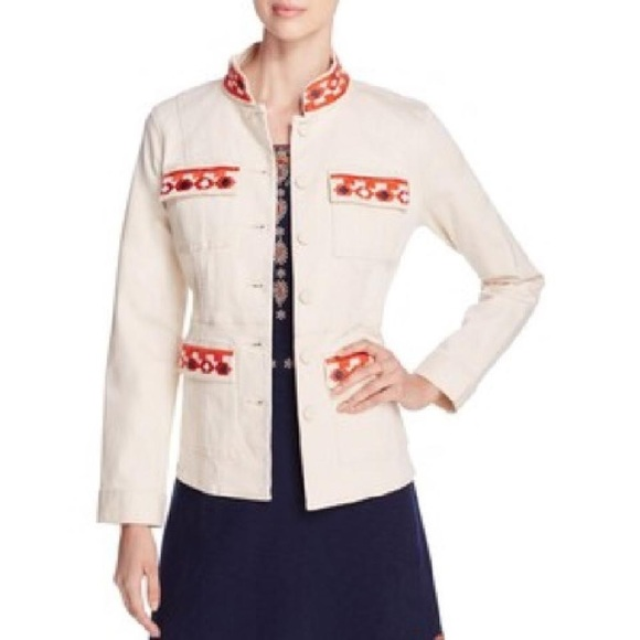 b5efa7c767a Tory Burch Jackets & Coats | Berkley Embroidered Mandarin Collar ...