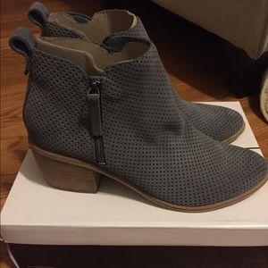 Gray laser cut booties