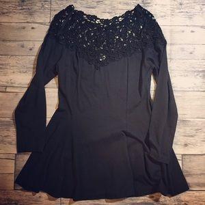 Black flared mini dress