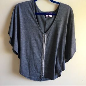 Gray Flowy Blouse with Metal Chain Detail