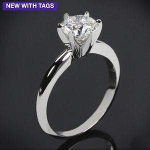 Jewelry - NWT Brilliant 2 ct  white CZ super shiny ring